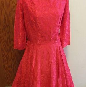 True Vintage 50s Lipstick Rose Damsk Rayon Dress